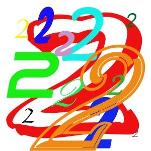 Verschiedene Varianten der Zahl Zwei übereinander und unterschiedlichen Größen