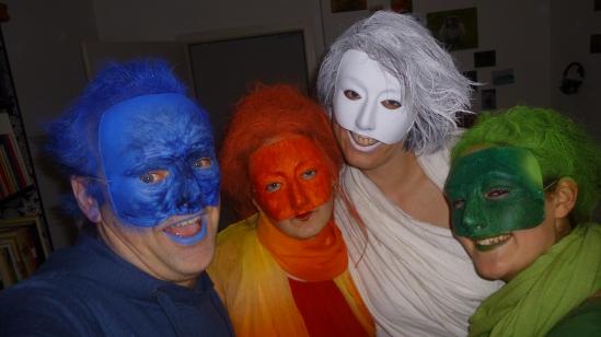 """4 Halloween-Elementar""""geister"""" ind Blau, Rot, Weiß und Grün"""