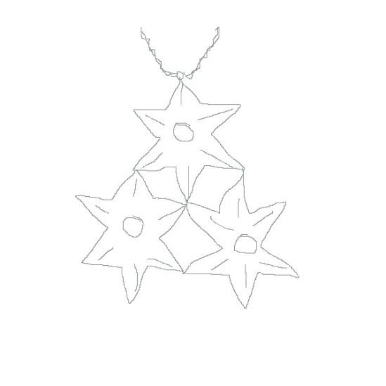 Skizze des Amulettes der Lliira - 3 sechzackige Sterne im Dreieck